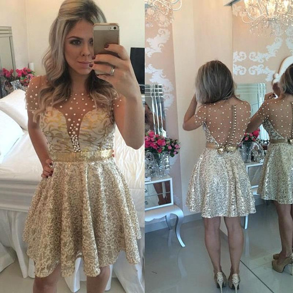 Vintage Champagne Mini Short Homecoming Dresses Short Sleeves Illusion Back Sequined Prom Gowns A Line Beading Cocktail Party Wear BA9856