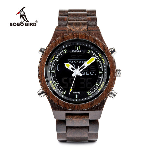 BOBO BIRD V-P02 Watches Men High quality Wood Digital Night Vision Male Wristwatch with Week Display Stop Watch