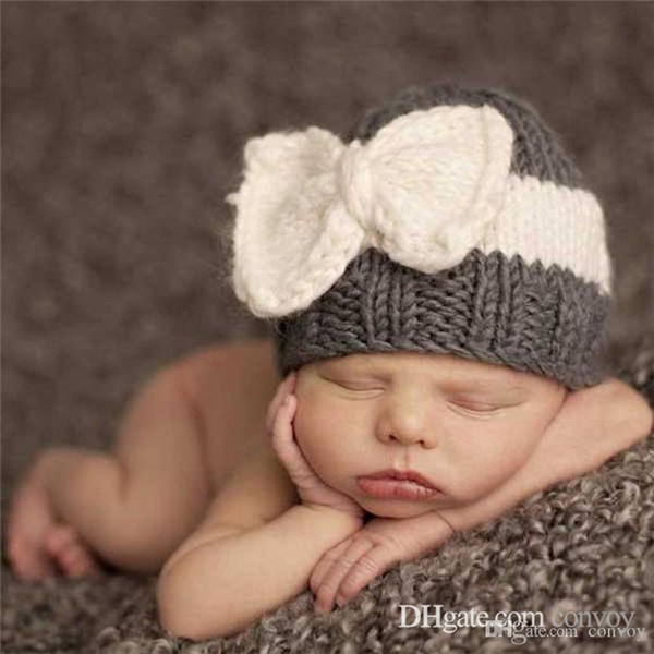 Kids Winter Warm Croceht Hat Bow decoration cute handmade knitting hats Knitted hats Newborn Children bowknot Caps BH34