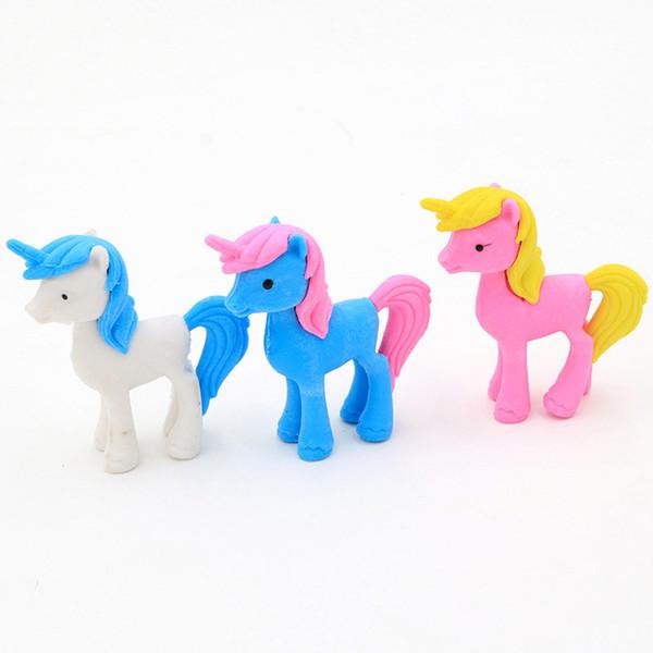 2 unids Creative unicorn horse animal borrador de lápiz Animal lindo borrador de goma extraíble kawaii material escolar útiles niños regalo