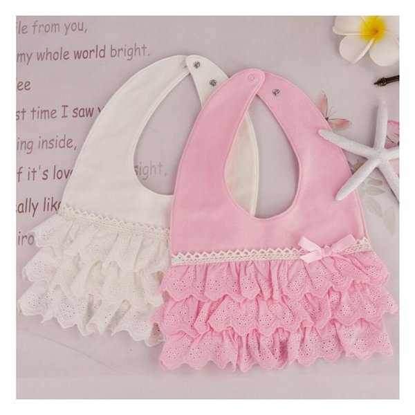 2018 Baby Bibs Burp 100% Cotton Lace Bow Pink and White Bib Baby Girls Lovely Cute Bib Infant Saliva Towels