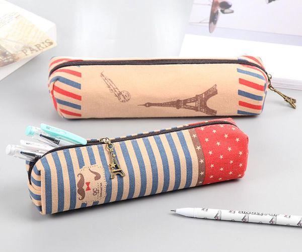 Creative Crown Canvas Pencil Case Simple Boys and Girls Vintage British Tower Large Capacity Pencil Bag Comestic Makeup Bag