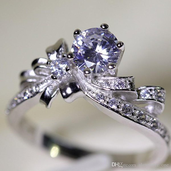 Euramerican Marke Bowknot Solide 925 Sterling Silber Ring für Frauen Luxus 1 ct Diamant cz ring Engagement hochzeit schmuck
