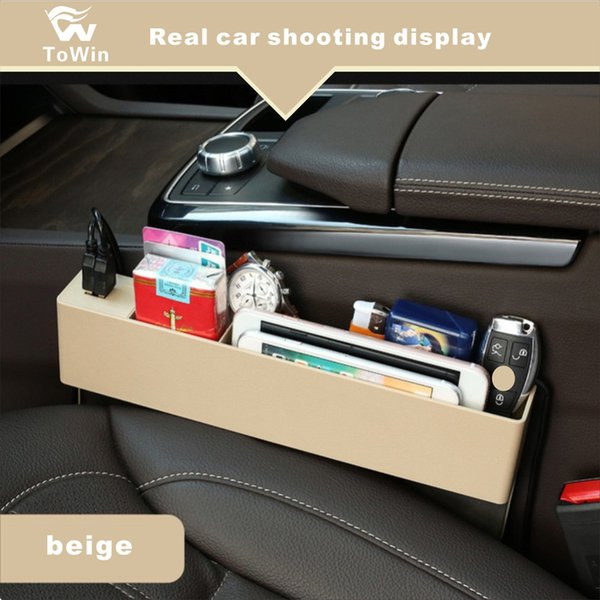 Car Seat Side Gap Filler 2 USB Charging Ports (Universal Fit),ABS Car Seat Console Organizer,Car Seat Organizer.Multi-fuctional Storage Box.