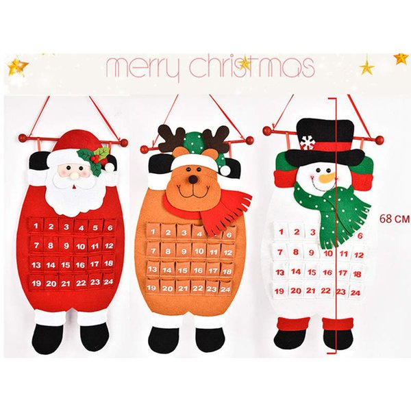 Christmas Advent Calendar Santa Claus Snowman Elk Animal Xmas New Year Christmas Ornaments Home Office Decoration About 68CM 1PC