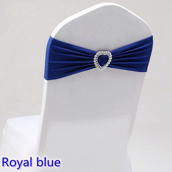 Royal Blue colour wedding chair sash with heart buckle lycra band spandex sash bow tie For Wedding Banquet Decoration for sale