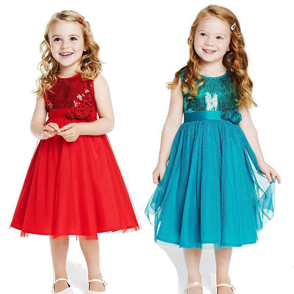 Hot sale cute kids girls fashion O-neck sleeveless net yarn patchwork sequins decoration dress top quality