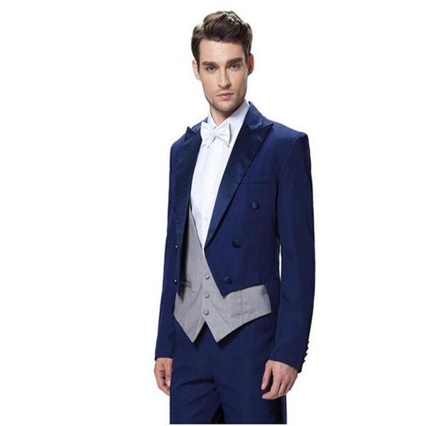 Best Design Blue Tailcoat Men Wedding Tuxedos Excellent Groom Tuxedos Groomsmen Men Dinner Prom Ceremonial Dress(Jacket+Pants+Tie+Vest) 784