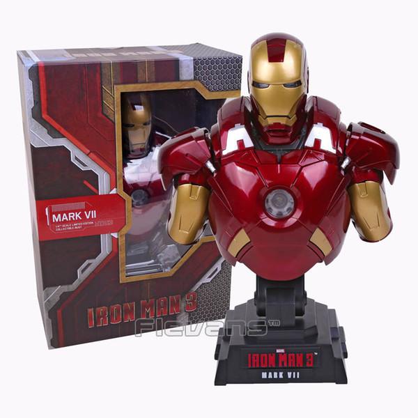 Iron Man 3 MARK VII 1/4 Escala Edición limitada Figura de busto de colección Modelo Juguete con luz LED de 23 cm