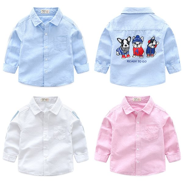 Boutique Oxford boys shirts pure cotton ready to go dog printed kids clothing wholesale cheap China 90-100-110-120-130 5pcs/lot