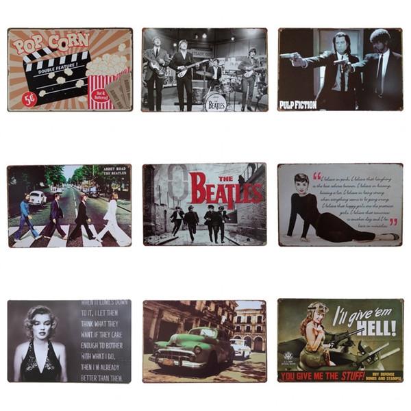 Jolie Actrice Thème Métal Fer Peinture Pour Cinéma Art Gallery Accrocher Décoration Étain Affiche Film Antique Style Tins Signe Vente Chaude 20 * 30 cm ZY