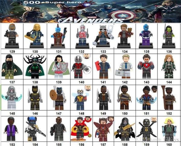 Wholsale Super héros Mini Figurines Marvel Avengers DC Justice League Merveille femme Deadpool Batman Thor Loki blocs de construction enfants cadeaux
