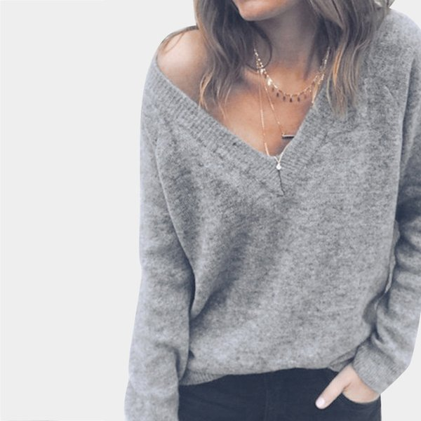 2018 Winter Gray Royal Blue Pink Black Women Sweaters V Neck Long Sleeves Backless Loose Fashion Women Clothings Autumn High Quality FS5820