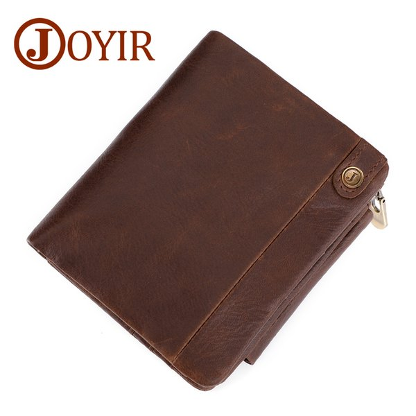 Wholesale Genuine Leather Men Wallets Vintage Trifold Wallet Zip Coin Pocket Purse Cowhide Leather RFID Wallet For Mens