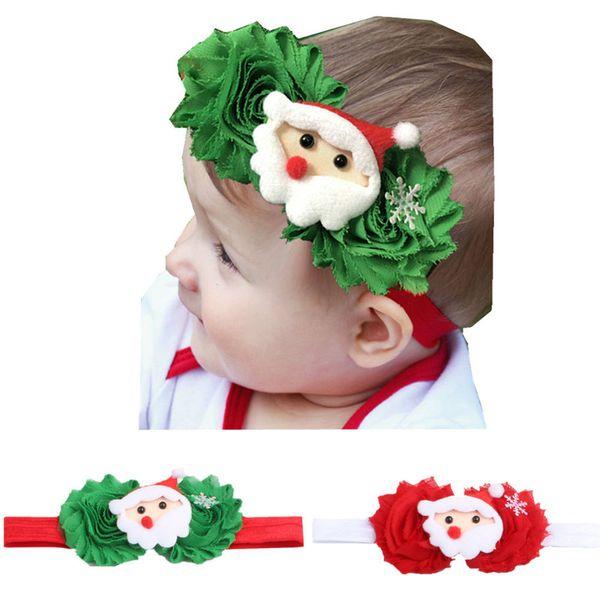 Yeni Noel Streç Bebek Kız Kafa Saç Aksesuarları Yenidoğan Kız Hairband Noel Baba Noel Ağacı Çiçek Şapkalar Noel Hediyesi