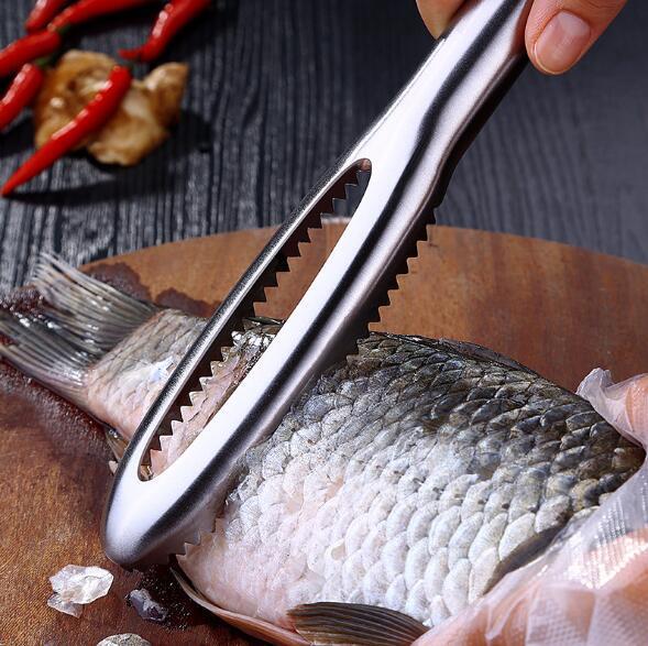 Cepillo de piel de pescado Raspador de acero inoxidable Raspado Cepillo de escala de pescar Ralladores Rápidos Quitar Cuchillo de pescado Pelador de limpieza Raspador Raspador