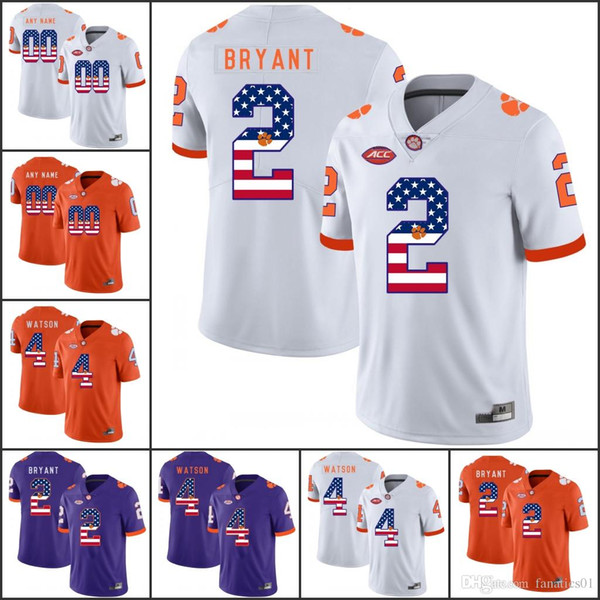 National flag NCAA Clemson Tigers College Football jerseys Chase Muse Fields Watkins Dawkins Swinney Tankersley Fuller Israel Johnson