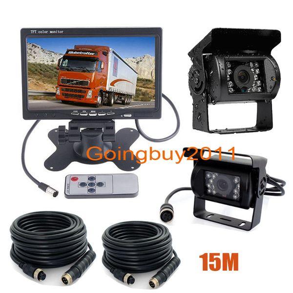"2 x 18 LED IR CCD Car Reversing Camera Waterproof + 4Pin 7"" LCD Monitor Rear View Kit Bus Truck Van 12V-24V Free Shipping"