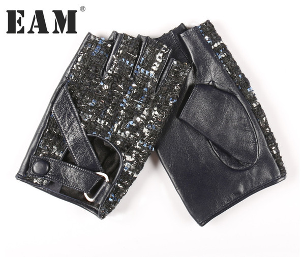 [EAM] 2018 New Autumn PU Leather Gray Dark Blue Plaid Split Joint Keep Warm Half Gloves Women Fashion Tide All-match JC100