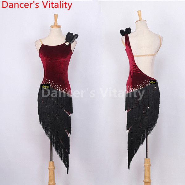 Latin Dance Competition Women Dress Backless Performance Suits Rhinestone Sleeveless Rumba Salsa Tango Chacha Samba Tassel Costume
