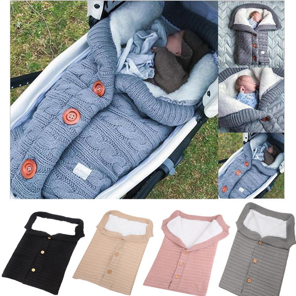top popular Baby Button Knitted Sleeping Bags Newborn Stroller sleeping bag Toddler autumn Winter Wraps Swaddling 5 colors infant bed sheet C5513 2021