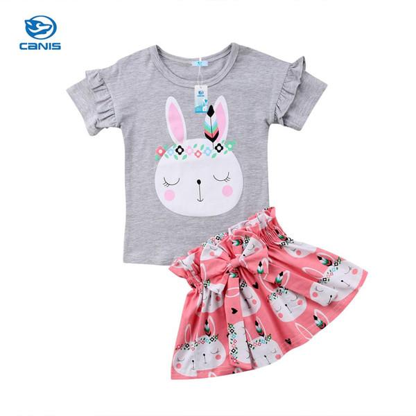 Süße Kleinkind Kinder Baby Mädchen Niedlichen Kaninchen Bunny Tops T-shirt Rock Boom Kleid Outfits Ostern 9 Mt-5 t