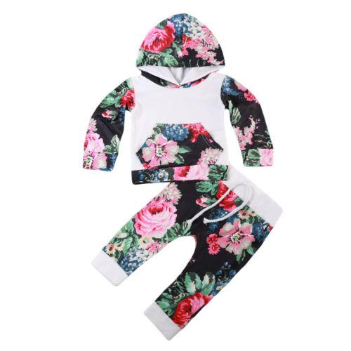 Cute Newborn Baby Girl Boy Clothes Set Long Sleeve Floral Hoodie Tops Pants Outfits Set Clothes US Stock