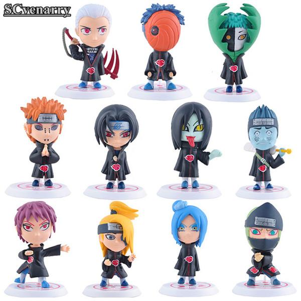 11pcs Naruto Akatsuki Uchiha Itachi Madara Sasuke Hidan Orochimaru Tobi Pein Deidara Q Ver Pvc Action Figure Model Toy 8cm Cshc5