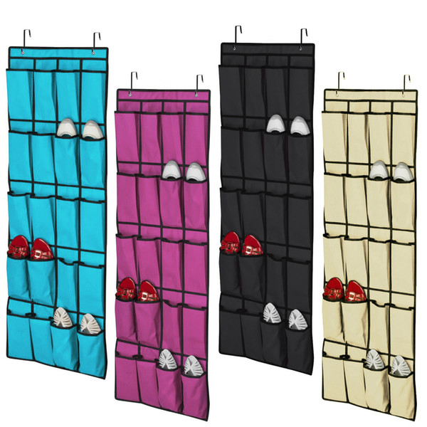 Hot sell 20 Pocket Non-woven Fabric Over the Door Shoe Organizer Space Saver Rack Hanging Storage Hanger