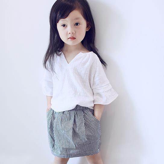 2018 toddler kızlar yaz giyim seti bluz + ekose etek 2 ~ 7 yaş için 2 adet kız giysileri takım conjunto menina bebek girs kıyafetler