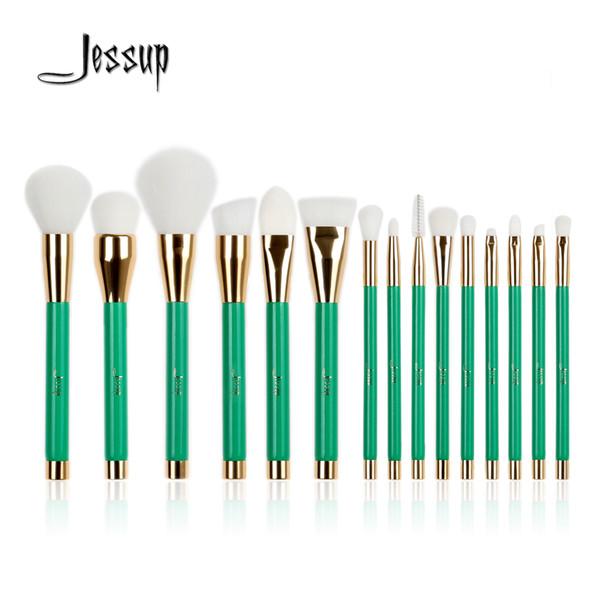 Jessup 15pcs Pro Makeup Brushes Brush Set Foundation Blusher Powder Eyeshadow Blending Eyebrow Make up Green/White beauty tools