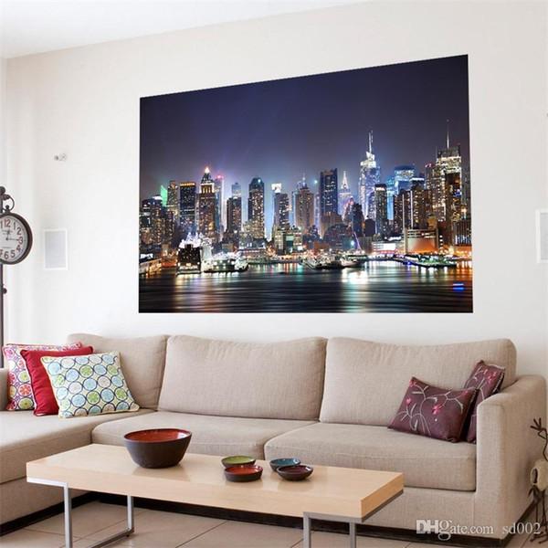 Acquista Funlife Originalità Nuovo Wall Sticker New York Manhattan Scena  Notturna Soggiorno Bagno 3D Decor Wallpaper Murales Decalcomanie 49gd Gg A  ...