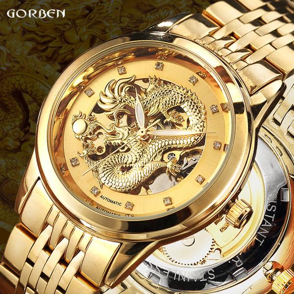 Dragón de lujo Esqueleto Relojes Mecánicos Automáticos Para Hombres Reloj de Pulsera Correa de Acero Inoxidable Reloj de Oro Impermeable Para Hombre relogio
