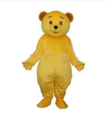 2018 EMS NAVIO LIVRE Barato Dourado Amarelo Teddy Bear Mascot Costume Adulto Tamanho Personagem de Banda Desenhada Mascotte Carnaval Cosply Traje