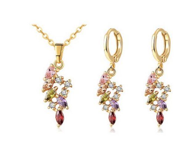 wonderful colorful diamond crystal stone bride wedding jewelry set necklace earings (11.6 fgf