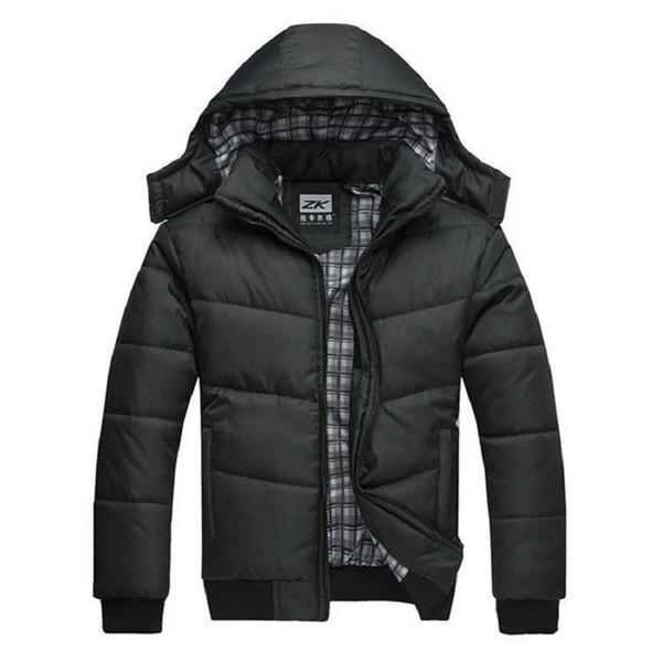 Casaco de inverno homens acolchoado preto baiacu casaco quente moda masculina casaco parka outwear poliéster acolchoado casaco de inverno com capuz