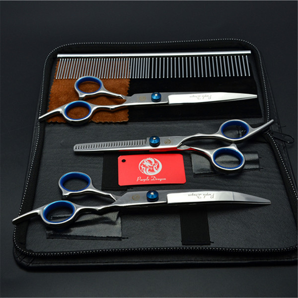 4Pcs Suit 7inch 19.5cm Purple Dragon Pets Hair Grooming Shear Steel Comb+Cutting+Thinning Scissor+Down Curved Shears Cat Hair Clipper Z3001