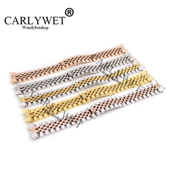 CARLYWET 20mm 316L Edelstahl Jubilee Silber zweifarbig Rose Gold Armbanduhr Armband solide Schrauben Links gebogene Ende