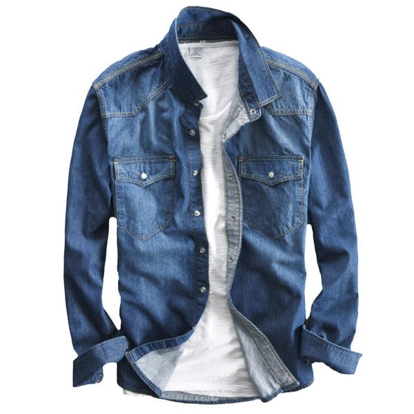 Yeni Bahar denim gömlek erkekler moda Retro Iki cepler Uzun kollu gömlek adam yıkama Ince yumuşak mavi kot gömlek M-XXXL