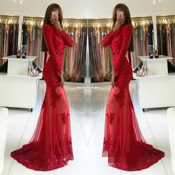 Junoesque Red Mermaid Prom Dresses Jewel Long Sleeves Applique Zipper Sweep Train Prom Gowns Evening Dresses