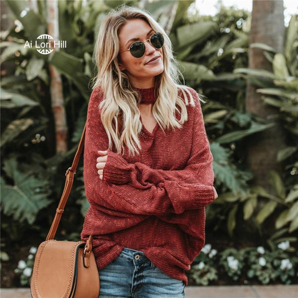 Femmes Style Simple Loisirs Lâche V-cou Coton Polyester Mode Filles Populaires Tricoté Solide Suspendu Au Cou Chandail