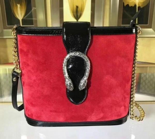 NEW TOP 499622 ORIGINAL RED FROSTED LEATHER BUCKET BAG Hobo HANDBAGS TOP HANDLES BOSTON CROSS BODY MESSENGER SHOULDER BAGS