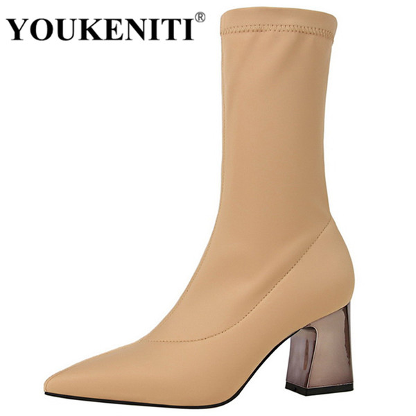 youkeniti women mid-calf boots shoes woman 2018 autumn fall shoes 7cm square heel riding equestr boot winter boots women, Black