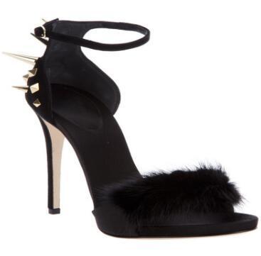 2018 High-heeled sandals 2 colors Metal decoration spike stud sandals Women shoes buckle high heels party shoes rivets stud sandals