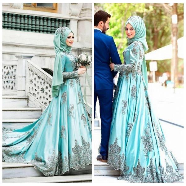 2018 saoudie arabe cou haute robes de mariée une ligne avec manches longues appliques de dentelle perlée satin col haut appliqued robes de mariée perlée