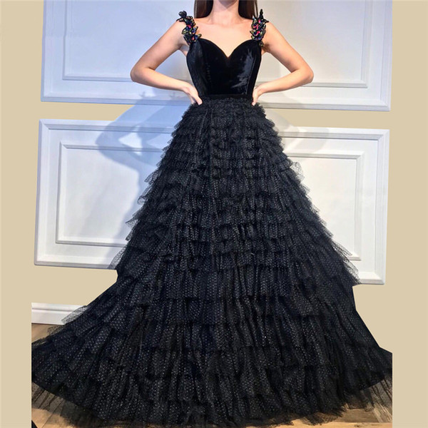 Black Spaghetti Straps Evening Dresses 2018 Ball Gown Tulle Long Tired Skirt Velvet Formal Evening Gown