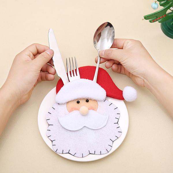 Titular garfo de Papai Noel do natal Talheres Titular Shabby Chic Talheres Chique Do Vintage Embalagem Empate Faca Bolso Partido Decoração CFG51