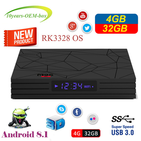 4GB Smart TV Box Android 8.1 Rockchip RK3328 Quad Core Mini PC Wifi M9S Y2 4G 32G Set Top Box Wifi 4K HDR Media Player USB 3.0