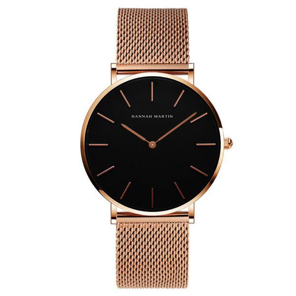 Splendid Fashion Men Women Crystal Stainless Steel Analog Quartz Wrist Watch Bracelet Dress Watches HM02W