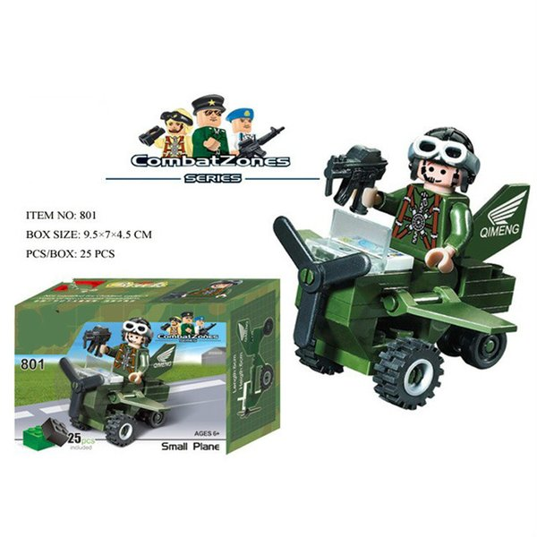 Military small plane soldier squad Kaizhi puzzle assembly assembling plastic spell inserting building blocks toy 801